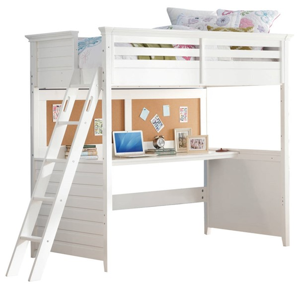 Acme Furniture Lacey White Twin Loft Bed with Desk ACM-37670