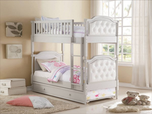Pearlie Contemporary Gray Pearl White PU Wood MDF Twin/Twin Bunk Bed ACM-37690