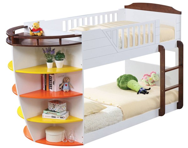 Acme Furniture Neptune White Chocolate Twin Over Twin Storage Bunk Bed ACM-37715