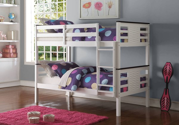Florrie Contemporary White Espresso Pine Wood Twin/Twin Bunk Bed ACM-37745