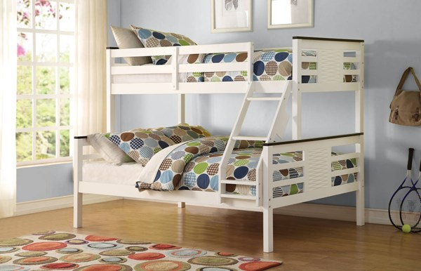 Florrie Contemporary White Espresso Pine Wood Twin/Full Bunk Bed ACM-37750