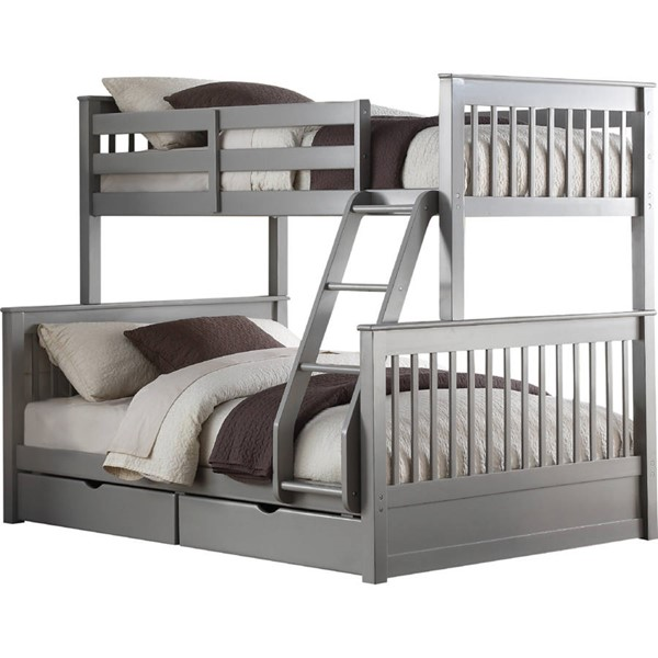 Acme Furniture Haley II Gray Twin Over Full 2 Drawers Bunk Bed ACM-37755