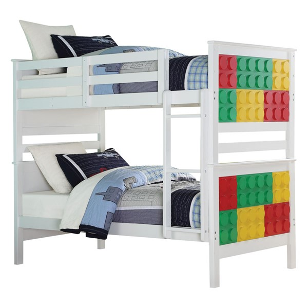 Acme Furniture Playground White Twin over Twin Bunk Bed ACM-37780