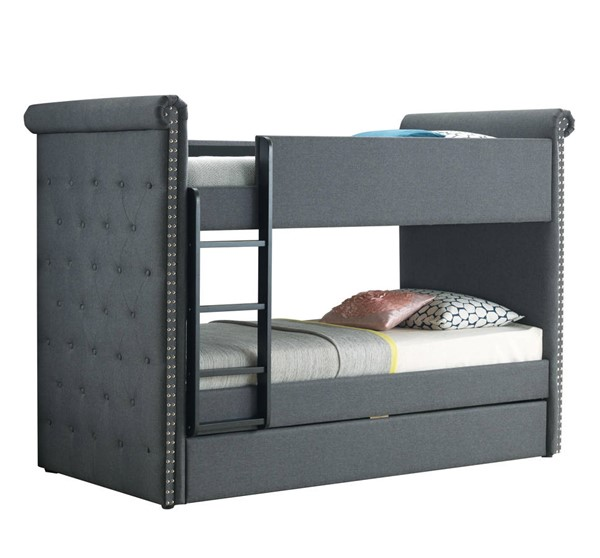 Acme Furniture Romana II Gray Fabric Twin over Twin Trundle Bunk Bed ACM-37855