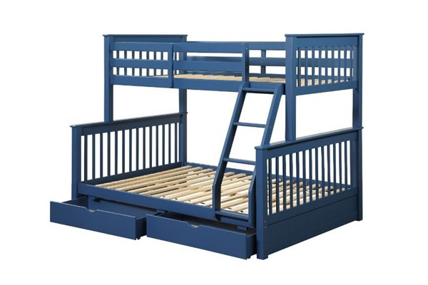 Acme Furniture Harley II Navy Blue Twin Over Full Storage Bunk Bed ACM-37865