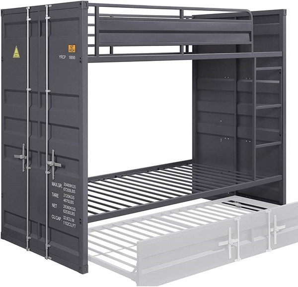 Acme Furniture Cargo Gunmetal Twin Over Twin Bunk Bed ACM-37890