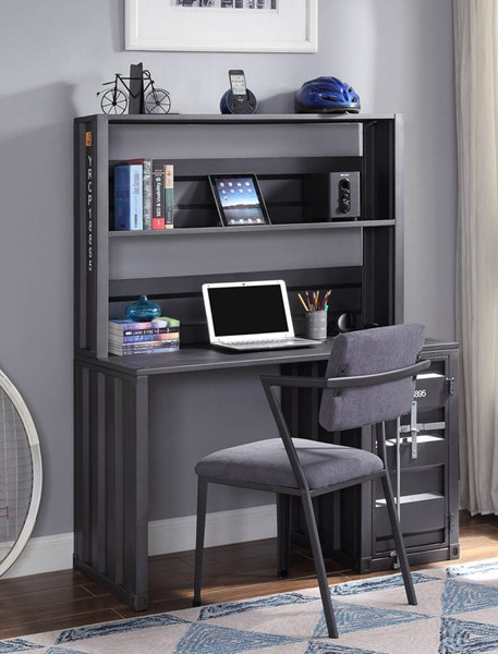 Acme Furniture Cargo Gray Fabric Gunmetal Desk and Chair Set ACM-378-GM-HOF-S1