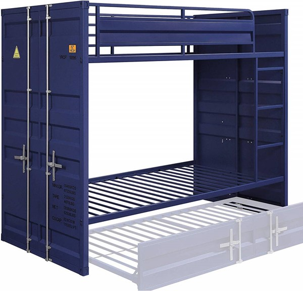 Acme Furniture Cargo Blue Metal Twin over Twin Bunk Bed ACM-37900