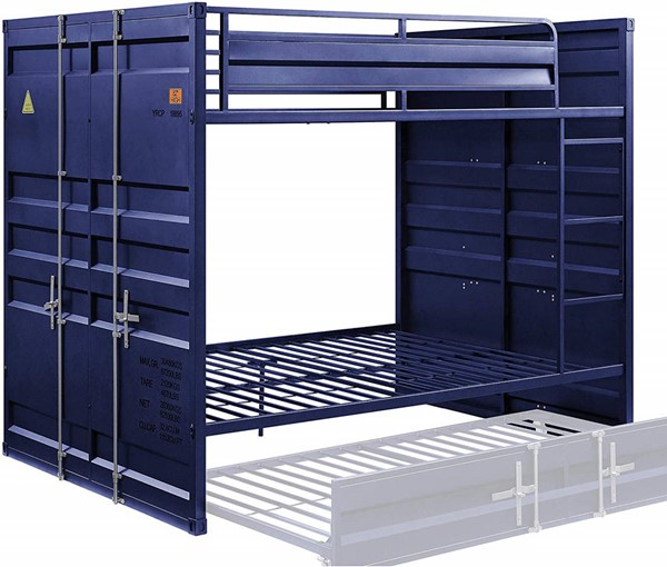 Acme Furniture Cargo Blue Metal Full over Full Bunk Bed ACM-37905