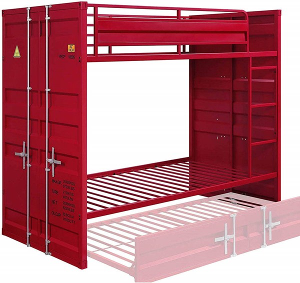 Acme Furniture Cargo Red Metal Twin over Twin Bunk Bed ACM-37910