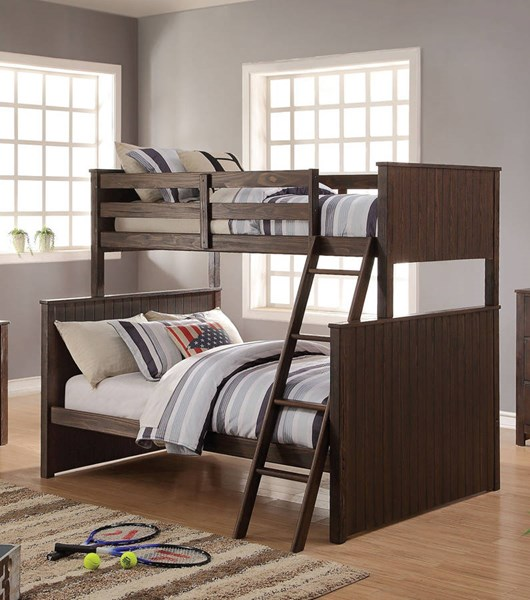 Hector Casual Antique Charcoal Brown Wood Twin/Full Bunk Bed ACM-38020