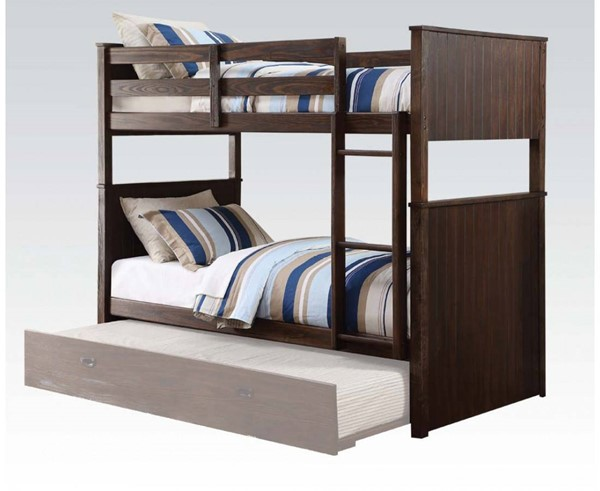 Hector Casual Antique Charcoal Brown Wood Twin/Twin Bunk Bed ACM-38025