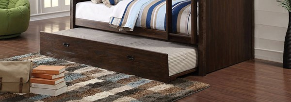 Hector Casual Antique Charcoal Brown Wood Trundle ACM-38027