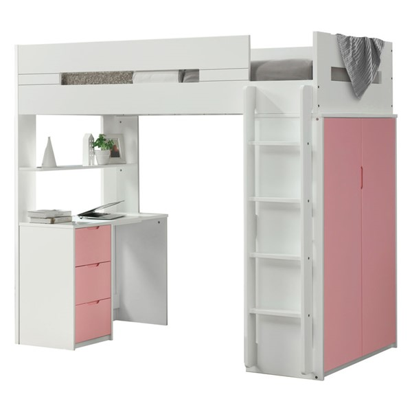 Acme Furniture Nerice White Pink Loft Beds ACM-380-LFT-VAR