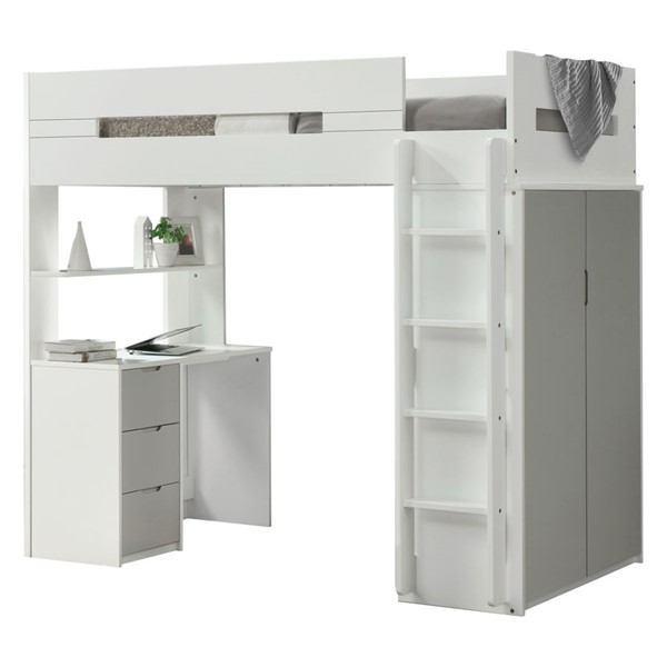 Acme Furniture Nerice White Gray Loft Bed ACM-38050