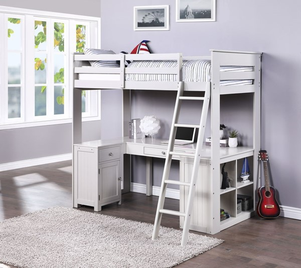 Acme Furniture Ambar Light Gray Chest Desk and Bookcase Loft Bed ACM-38065
