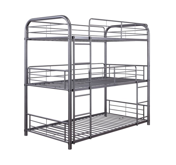 Acme Furniture Cairo Gunmetal Three Layer Full Bunk Bed ACM-38095