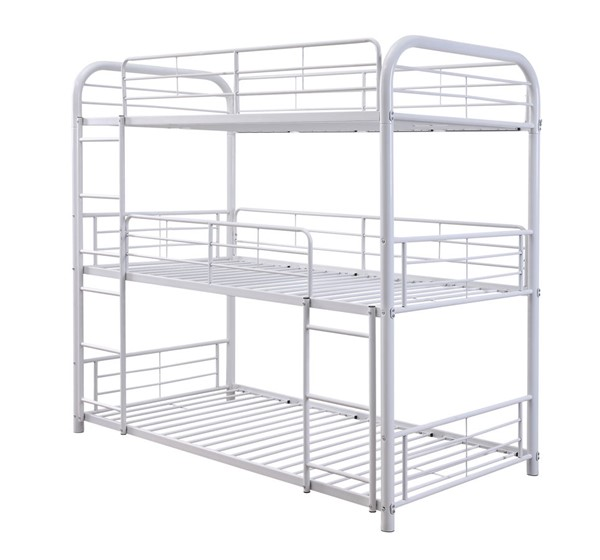 Acme Furniture Cairo White Three Layer Full Bunk Bed ACM-38115