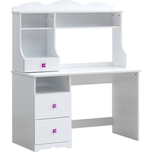 Acme Furniture Meyer White Desk Table with Hutch ACM-38155-56