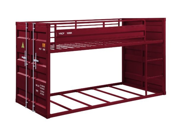 Acme Furniture Cargo Red Twin Over Twin Ladder Bunk Bed ACM-38280