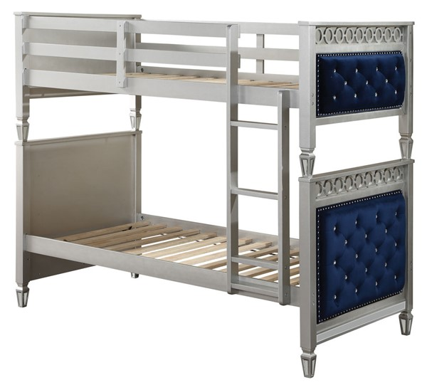 Acme Furniture Varian Blue Silver Twin over Twin Bunk Bed ACM-38330