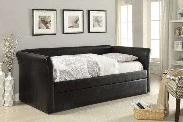 Misthill Black PU Wood Daybed & Trundle w/Padded Flared Arms ACM-39145