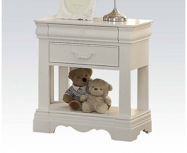 Estrella Classic White Wood 2 Drawers Nightstand ACM-39153
