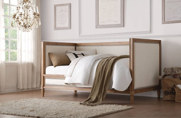 Charlton Cream Salvage Oak Linen Pine Wood MDF Daybed ACM-39175