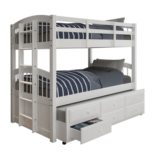 Acme Furniture Micah White Twin Over Twin Trundle Bunk Bed with 3 Drawers ACM-39995