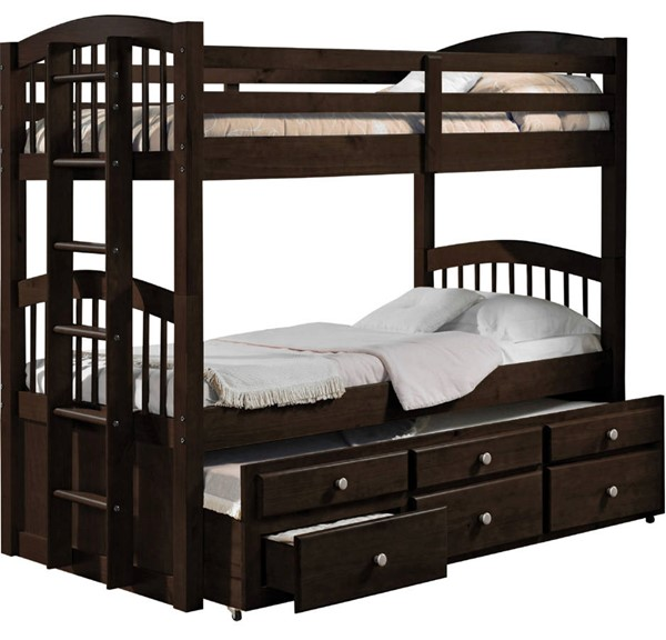 Acme Furniture Micah Espresso Twin Over Twin Trundle Bunk Bed with 3 Drawers ACM-40000