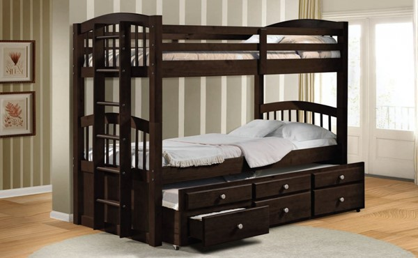 Micah Espresso Wood Twin/Twin Bunk Bed & Trundle W/3 Drawers ACM-40000