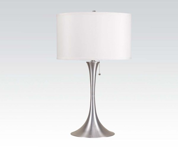White Silver Metal Table Lamp W/Pull Chain On/Off ACM-40023