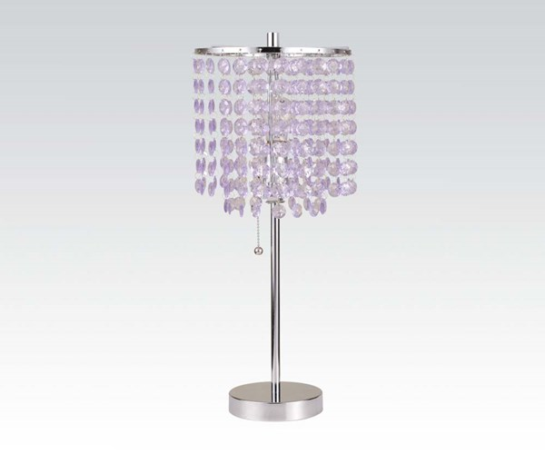 2 Vicka Brush Silver Metal Round Base Table Lamps ACM-40048