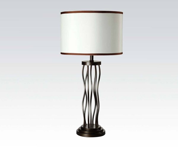 2 Jared Antique Bronze Metal Fabric Table Lamps ACM-40070
