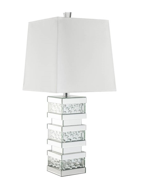 Acme Furniture Nysa White Clear Mirror Metal Wood Square Table Lamp ACM-40217