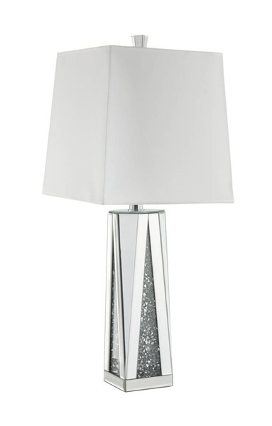 Acme Furniture Noralie White Clear Glass Faux Diamond Table Lamp ACM-40218