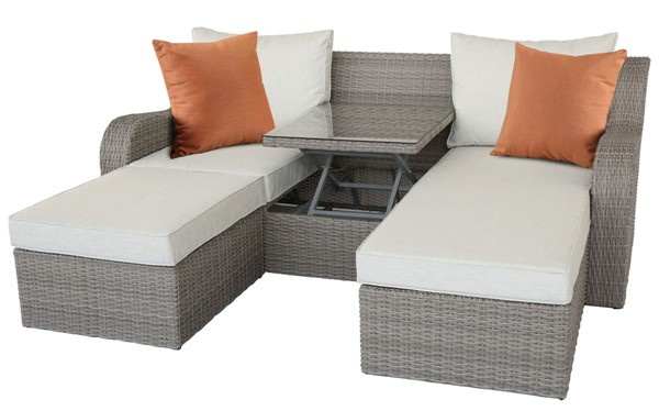 Acme Furniture Salena Beige Patio Sectional and Ottoman ACM-45010