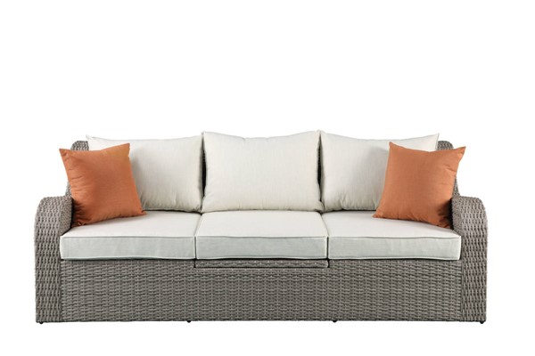 Acme Furniture Salena Beige Patio Sectional and Ottoman with 2 Pillows ACM-45010