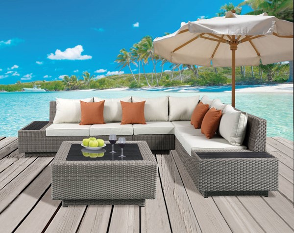 Acme Furniture Salena Beige Patio Sectional and Cocktail Table ACM-45020