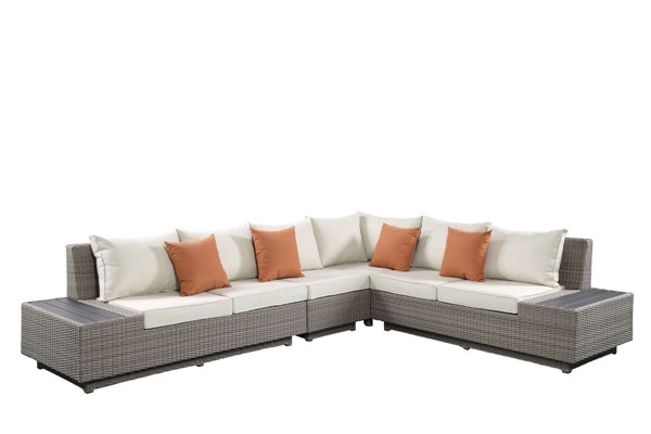 Acme Furniture Salena Beige Patio Sectional and Cocktail Table with 4 Pillows ACM-45020