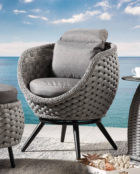 2 Acme Furniture Egil Gray Synthetic Wicker Fabric Patio Chairs ACM-45041