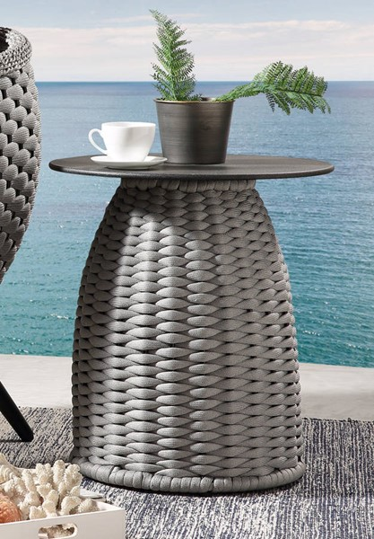 Acme Furniture Egil Gray Polyester Ropes Metal Glass Patio Table ACM-45043