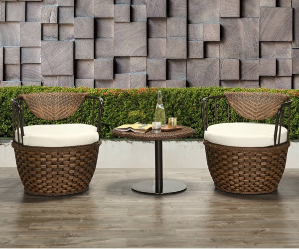 Acme Furniture Eskil Two Tone Brown Synthetic Wicker Fabric 3pc Patio Set ACM-45045