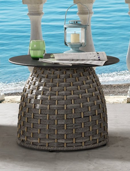 Acme Furniture Eskil Two Tone Gray Synthetic Wicker Metal Glass Patio Table ACM-45050
