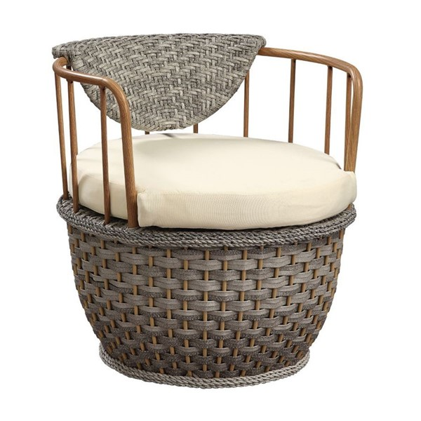 2 Acme Furniture Eskil Two Tone Gray Synthetic Wicker Fabric Patio Chairs ACM-45052