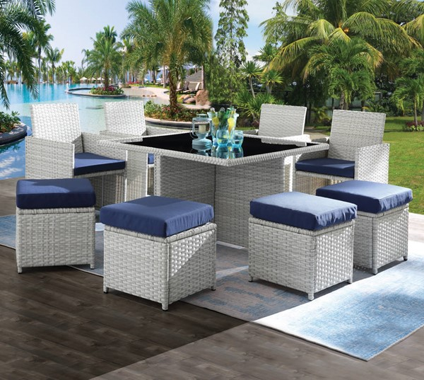 Acme Furniture Paitalyi Blue Fabric Synthetic Wicker Glass 9pc Patio Set ACM-45075