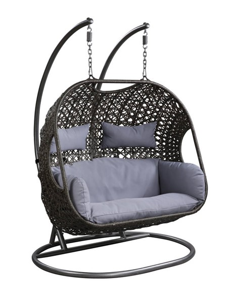 Acme Furniture Vasant Grey Fabric Synthetic Wicker Metal Patio Swing Chair with Stand ACM-45084