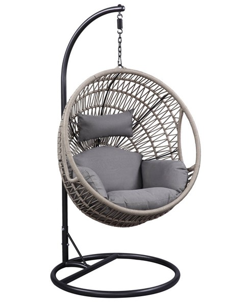 Acme Furniture Vasant Grey Fabric Polyester Ropes Metal Patio Swing Chair with Stand ACM-45088