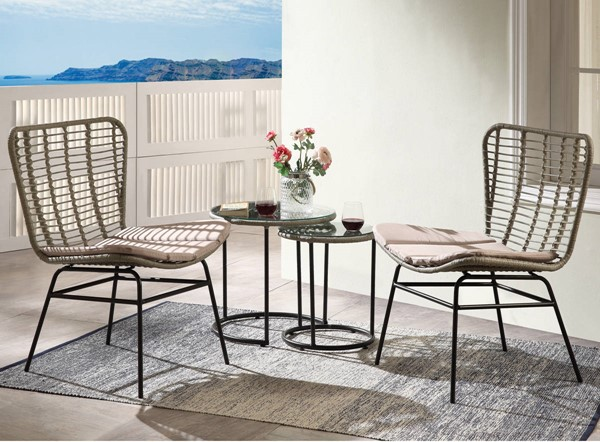Acme Furniture Kanga Black Metal Rattan Glass 4pc Patio Set ACM-45100