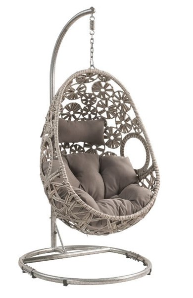 Acme Furniture Sigar Light Gray Patio Hanging Chair with Stand ACM-45107